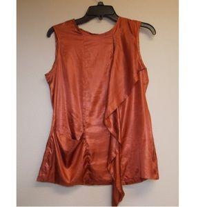 J Brand Copper shiny draped Sleeveless Blouse 4
